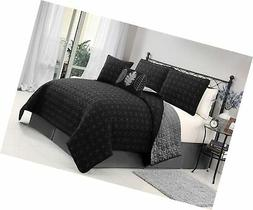 VCNY black/Grey Hayden 5-Piece Queen Quilt Set, Multi