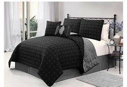 VCNY black/Grey Hayden 5-Piece Queen Quilt Set, Multi