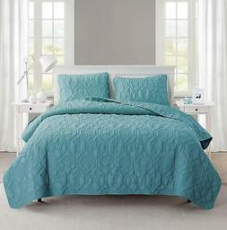 VCNY Home Shore Seashell Pattern 3 Piece Quilt Set, King, Bl