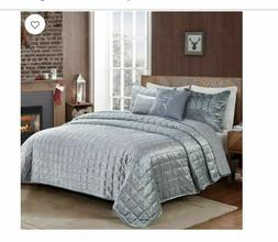 Donner Velvet Reversible 5-Piece King Quilt Set in Silver
