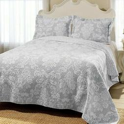 Laura Ashley Venetia Cotton Reversible Quilt, Full/Queen, Gr