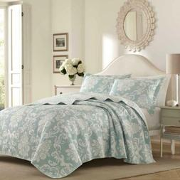 Laura Ashley Venetia Duck Egg Quilt Set, King