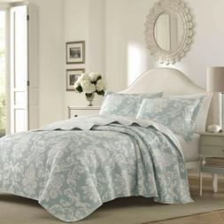 Laura Ashley VENETIAN Reversible Quilt Set W/ Shams Mint Gre