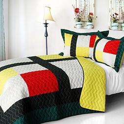 Vermicelli-Quilted Patchwork Geometric Quilt Set Full/Queen