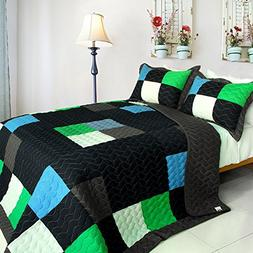 Vermicelli-Quilted Patchwork Plaid Quilt Set Full/Queen
