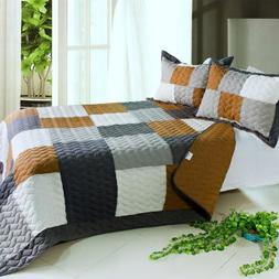 3PC Vermicelli-Quilted Patchwork Quilt Set