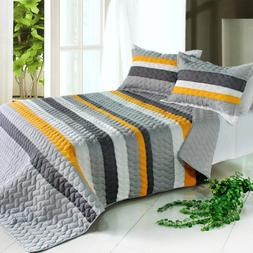 3PC Vermicelli-Quilted Striped Quilt Set