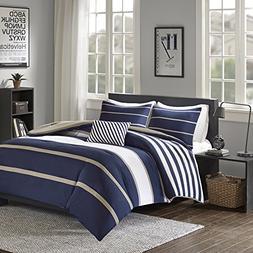 Comfort Spaces - Verone Comforter Set - 4 Piece - White, Nav
