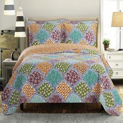 Vibrant Dahlia Reversible Floral Bed Quilt Sets; Hypoallerge