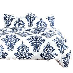 Bedsure Victoria Blue Modern Duvet Cover Set with Zipper Clo