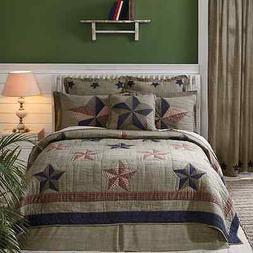 Vincent Star 100% Cotton Queen Quilt 3 Pc Set Americana Navy