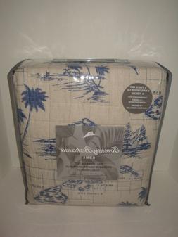 Tommy Bahama Vintage Map Ink Beige/Navy Quilt Set Full/Queen