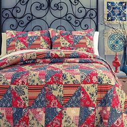 Cozy Line Home Fashions Vintage Patchwork Quilt Bedding Set,