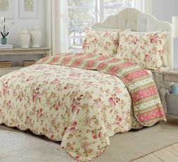 Vintage Rose Floral 100%Cotton 3-Piece Reversible Quilt Set,
