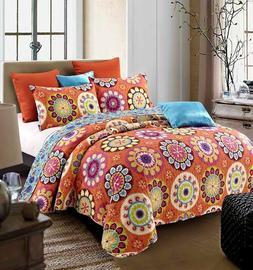 """Virah Bella® Collection - """"Suri Orange"""" Printed Quilt Set -"""