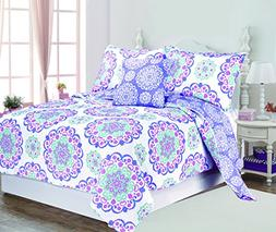 Design Studio Vivian Cotton 4pc Quilt Set, Twin, Purple