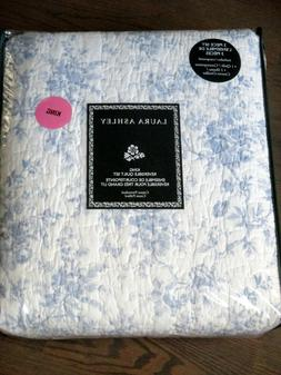 LAURA ASHLEY Walled Garden Blue & White Floral Toile 3pc KIN