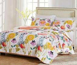 Greenland Watercolor Dream King Quilt Set 105 x 95 with Two