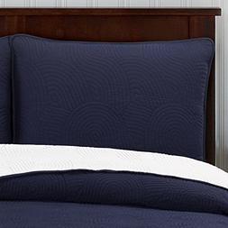 Brielle Wave Reversible Quilt Set, Twin, Navy/White