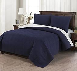 Brielle Wave Reversible Quilt Set, King, Navy/White
