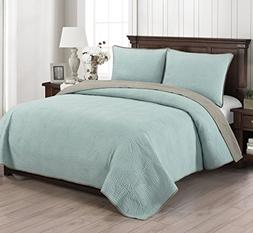 Brielle Wave Reversible Quilt Set, Full/Queen, Seafoam/Light