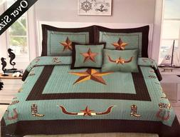 Western Rustic Turquoise Longhorn Star & Boots Bedspread Qui