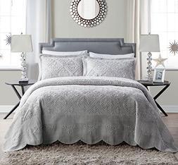 VCNY Home Westland Plush Quilted 3-Piece Bedspread Set, Ki