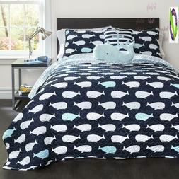 Lush Decor Whale Kids Quilt Reversible 5 Piece Bedding Set W