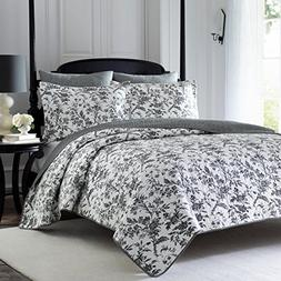 UKN 3 Piece Whimsical Black White King Quilt Set, Floral The