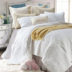 Brandream White Beige Vintage Floral Comforter Set Queen Siz
