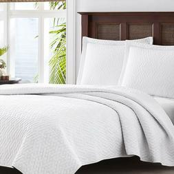 Tommy Bahama White Chevron Quilt Set, King, White