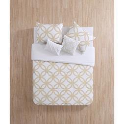 4 Piece White Metallic Gold Geometric Comforter Twin Twin Xl