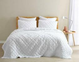 White Super Soft Washed Microfiber Diamond Ruffle Quilt Beds