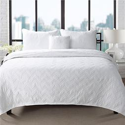 Cozy Line Home Fashions White Bedspreads Queen Quilt Full Si