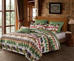 Virah Bella Wilderness Bear 4pc KING Quilt Set Green Pines,D