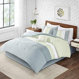 Comfort Spaces Windsor Comforter Set- 5 Piece – Aqua, Gree