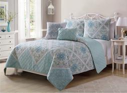 VCNY Home Windsor 5 Piece Quilt Set, King, Aqua