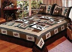 Winter Cabin - 4 Piece Queen Quilt Bedding Set