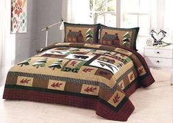 American Hometex Winter Cabin Queen Quilt Set
