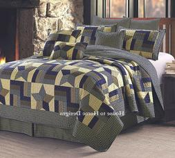 WOODLAND STAR Full Queen QUILT SET : COUNTRY CABIN PRIMITIVE