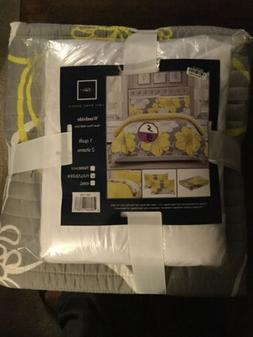 Chic Home Woodside  Quilt Set Full/Queen Gray And Yellow