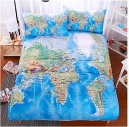 World Map Bedding <font><b>set</b></font> duvet cover <font>