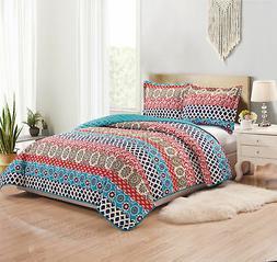 Woven Trends Coverlet 3-PC Bedspread Geometric Multi-Color Reversible Quilt Set