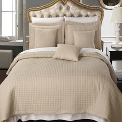 Wrinkle Free Checkered Quilted 3PC Coverlet Set/Bed Spread S