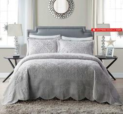 Vcny Home Ws1-3Bp-King-In-Gv Westland Plush Quilted 3-Piece