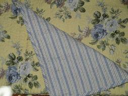 LAURA ASHLEY YELLOW BLUE FLORAL Full Queen 3pc Quilt Set COT