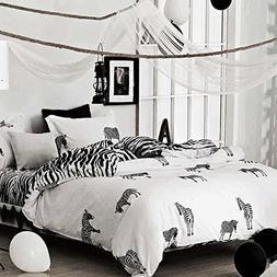 NANKO Zebra Print Duvet - Cover - Set - Queen White and Blac