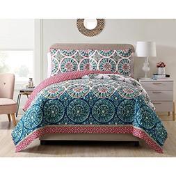 VCNY Home Zinnia 5-piece Reversible Quilt Set Blue/Pink 2 Pi
